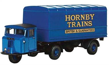 Hornby Centenary CollectionModel of a Scammell mechanical horse with van trailer in blue livery lettered for Hornby Trains.