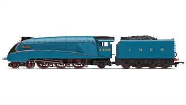 Hornby Railroad OO Gauge R3395TTS LNER 4468 Mallard A4 Class 4-6-2 LNER Garter Blue with TTS SoundThe stylish Gresley designed class A4 streamlined pacific type locomotive LNER 4468 Mallard is the holder of the official speed record for steam locomotives at 126mph and has long been one of the most popular models in the Hornby range. This Railroad range model, while featuring less fine detailing, comes from the same tooling as the collectors models and benefits from a boiler-mounted motor powering the driving wheels.The 2016 model features the 1930s garter blue livery complete with the streamlined valences over the wheels and completed with Hornbys; TTS sound system.