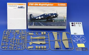 "F6F-3/5N Nightfighter 1/72 scale plastic kit (ProfiPACK edition) contains plastic parts, color photo-etched parts and painting mask allowing to build one of the four ""Dash 5"" the night version Hellcats markings, including one marking for British Hellcat NF Mk.II."