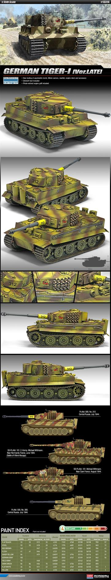 Academy 1/35th German Tiger -1 Late Version Tank Kit 13314Glue and paints are required to assemble and complete the model (not included)