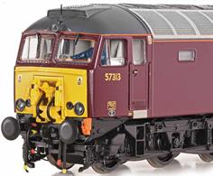 Nicely detailed model of West Coast Railways class 57/3 diesel locomotive 57313 finished in WCRC maroon livery and carrying the retractable Dellner coupling used to assist Pendolino trains.