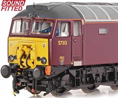 DCC and sound fitted model of West Coast Railways class 57/3 diesel locomotive 57313 finished in WCRC maroon livery and carrying the retractable Dellner coupling used to assist Pendolino trains.