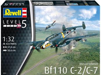 Revell 04961 1/32 Messerschmitt Bf110 C-7 Heavy Fighter and Fighter Bomber KitAuthentic representation of the following versions: - Messerschmitt Bf110 C-7, S9+AN, 5th/ZG 1, Belgorod, Russia, May 1942 - Messerschmitt Bf110 C-2, 3U+GT, WkNr. 3063, 9th/ZG 26, France, June 1940