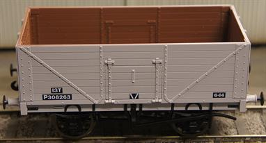 This model of a 8-plank fixed end open wagon will be finished in British Railways goods grey livery. Features sprung buffers, 3-link couplings, metal wheels, opening side doors.