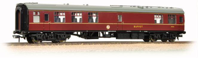 Bachmann Branchline 39-261B OO Gauge BR MkI RMB Miniature Buffet Car Maroon LiveryA very nice model of the Minature Buffet car. These coaches have a small buffet counter and food storage area near the centre, able to serve basic food and refreshments. Bachmann's model features the smooth riding commonwealth cast steel bogie and the extensive water supply piping on the roof. NEM pockets are used to permit tension-lock of bar type couplers to be fitted.This model carries the second standard BR coach livery of lined maroon, seen in the 1960's.