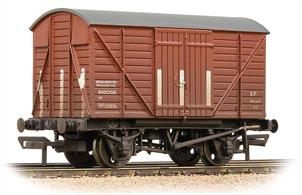 A good model of the BR design shock-absorbing covered box van with planked body.The side mounted shock absorbers allowed the body limited movement end-to-end, offering protection for the load from the sudden jolts of shunting.