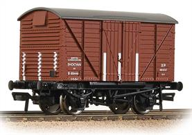 A good model of the BR design shock-absorbing covered box van with corrugated steel ends.The side mounted shock absorbers allowed the body limited movement end-to-end, offering protection for the load from the sudden jolts of shunting.