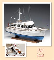 This marvelous reproduction of a ship of the line Grand Banks, now known and appreciated throughout the world. The construction of these offshore Yachts began in 1965 with an idea of a certain Robert Newton, who decided to build a boat made to measure for him. The development project developed from a working trawler, very widespread in North America in the area of New Foundland where the Grand banks can be found, hence the name of these diesel powered boats.The kit includes glass fibre hull, with laser cut frames for bulkheads, and decking. Also included are the wooden superstructure sheets, brass and wooden fittings, resin details. The instruction booklet is very detailed, taking you through every step of construction. Due to the large hull, this model can be Radio Controlled. Scale 1:20, Length: 720mm.Skill Level 3