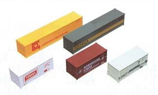 5 freight containers for use with freight container depots, cranes and wagons.