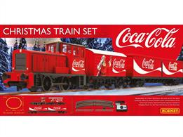 A new R1233 Christmas train set from Hornby includes a red Coca Cola™ diesel engine with two wagons, a 4 wheel van bearing the Santa Claus and Coca Cola bottle images and container flat wagon loaded with two containers with Coca Cola™ lettering and logos. The set is competed with an oval of track and mains-powered train speed controller.