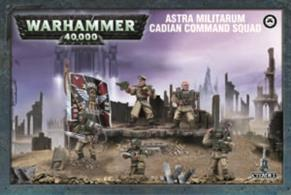 This box set contains five multi-part plastic Cadian Command Troopers. Also included are two different Company Banners, nine different guardsman heads and additional pieces to allow you to customise the rest of your Imperial Guard squads. Models supplied with 25mm round bases.