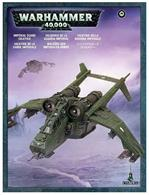 This box set contains one multi-part plastic Imperial Guard Valkyrie. This 128-piece, finely-detailed, miniature can be assembled in a number of ways and with a number of weapon options, including: rocket pods, a lascannon, a multi-laser, Hellstrike missiles and pintle mounted heavy bolters. Model supplied with a large oval base and an all-new clear-plastic flying base that will secure it in a heightened flying position.