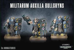 This multi-part plastic kit makes 3 Bullgryn miniatures which can be armed with either grenadier gauntlets and slab shields or battle mauls and suppression shields.This kit comes supplied unpainted and requires assembly.