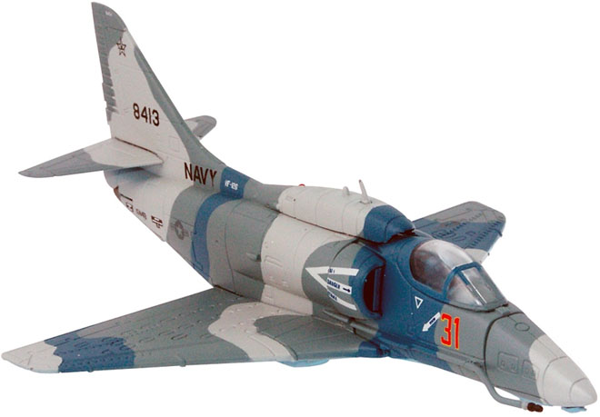 "Corgi US37405  is a 1/72nd scale model of a USN A4 Skyhawk Scooter subsonic single seat carrier capable attack aircraft.  Probably best remembered for the scenes from the Movie ""Top Gun"""