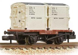 British Railways container 4-wheeled flat wagon with two BR insulated containers
