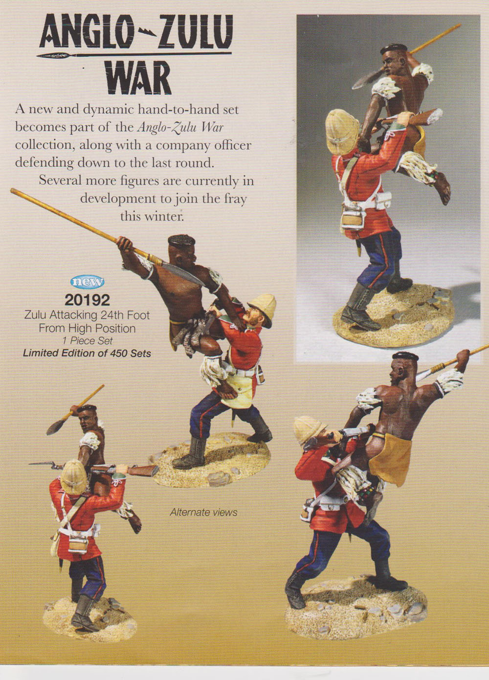 "A new and dynamic one piece set featuring a Zulu warrior and 24th Foot infantryman in hand to hand combat.<br><br><span class=""yui-non"">Limited edition - 450 Sets.</span><br><br><span class=""yui-non"">Late 2017 release</span><br><br><span class=""yui-non"">Matte finish</span><br><br><span class=""yui-non"">1/30 produces a figure that is 56/58mm.</span><br>"