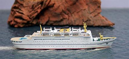 Dana Sirena, the Danish ferry chartered by Prinzenlinien during 1975 and modelled in 1/1250 scale by Risawoleska. This is a fully painted and finished collectors model, hand-made in Germany.