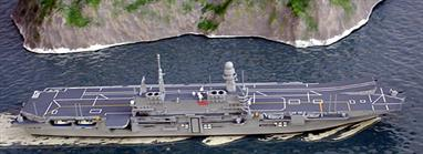 This modern Italian carrier ( in modern day terminology, helicopter cruiser) Cavour, C550, makes an impressive sight and this revised model issued in 2015, shows her as she is today. See also the Italian destroyers and frigates from the same maker.