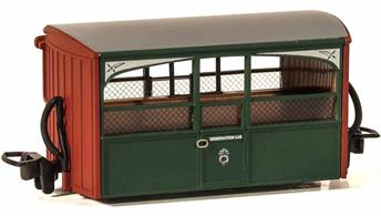 Detailed model of the Festiniog Railway open sided observation 'Bug Box' coach. A typical early Victorian era design of 4-wheel narrow gauge coach.Early preservation era green livery.