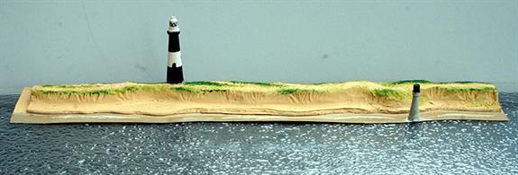 "A 25cm long low relief model of the section of the Yorkshire spit with the lighthouse and former lighthouse by Coastlines CL-L08a. This model is 25.4 cm (10"") long but can be extended at either or both ends using Sandy Shores A module."