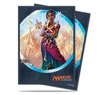 80 sleeves with a picture of Saheeli Rai from Kaladesh on the back. Sized to fit MTG/Pokemon cards