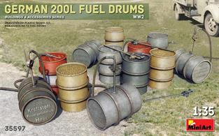 Kit contains model of German 200l Fuel Drums WW2