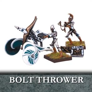 Elf Bolt Throwers are powerful warmachines, able to hurl bolts as tall as a man with such force that they can level castle walls or skewer half a dozen knights with a single shot. With a small crew of two, it is quick to load and fire, and light enough that it can be swiftly and easily moved around the battlefield, allowing it to be rapidly redeployed wherever its firepower is required.Number of Miniatures: 1 Warmachine and 2 Crew Product Type: Plastic Miniature Unit Type: Warmachine and CrewModels supplied unassembled and unpainted.