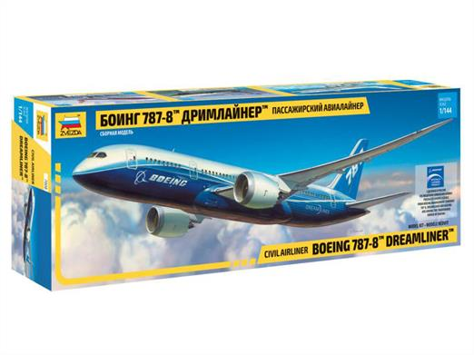 Zvezda 7008 1/144th Boeing 787-8 Dreamliner Airliner KitNumber of Parts 72    Length 380mm