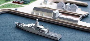 A 1/1250 scale waterline model of HNLMS P840 Holland a Dutch OVP  in 2009 by Albatros SM Alk400