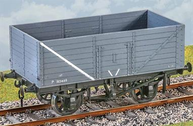 This kit models the 8 plank height version of the 1923 wagon with a steel underframe. These wagons were commonly ordered by collieries and coal factors and for use with less dense coals, where the extra height was needed for a full 12 tons load. The LNER owned a number of wagons built to this design for mineral traffic. The robust steel underframe many of these wagons lasted in service with British Railways into the 1960s, making this kit suitable for a range of liveries from private owners through wartime economy lettering and unpainted wood finish to BR grey.Supplied with metal wheels and 3 link couplings. Transfers for BR ex-private owner wagon lettering.