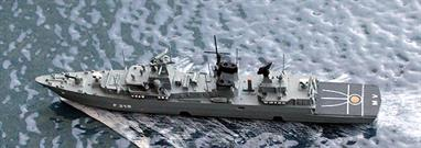 This model is the uprated model of a Brandenburg class ship. Last August, Mecklenburg Vorpommern proved that she could track the U23 which was hiding in the acoustic shadow of the cruise ship Minerva (ex- Russian spy ship Okean) whilst on exercise in the Baltic!