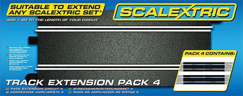 Extending your Scalextric track layout has never been easier.  with this C8526 4 Pack of Straights
