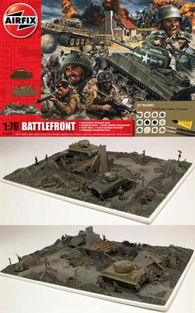 Airfix A50009A 1/76 D-Day Battlefront World War 2 Gift SetRe-enact the battle for Normandy with this new gift set from Airfix, Depicting a scene that is typical of the many meetings of opposing forces in the battles of Northern Europe in 1944, this set contains a Sherman and Tiger Tank, British Paratroops and German Infantry, a Forward Command Post and base to set everything out on. Operation Overlord.DUE OCT-19