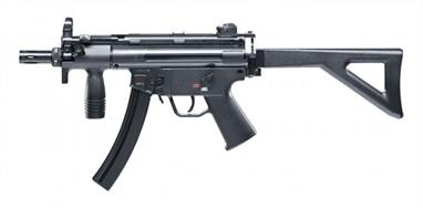 The Heckler & Koch MP5 became a bestseller the moment it came out. Police, military forces and special units worldwide use this weapon in its many variants. Its outstanding qualities are reliability, robustness and especially accuracy. Like the original, this replica has a folding butt that can be removed by releasing the holding pins, allowing it to be replaced by the butt plate from the K version. This kit thus gives you two versions. For extra safety, the trigger is fully deactivated when the gun is in safety-on condition. This model has other features found in the original, like a mounting rail and a removable compensator with bayonet lock.