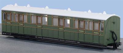 This model of the L&B enclosed composite coach with compartments for 1st and 3rd class passengers faithfully recreates coach 6364 of the Southern Railway in green livery. Modelled from official drawings, contemporary notes and photographs, although at first glance the coach appears to be quite plain, close inspection reveals a wealth of subtle detail in the painting and printing.The Lynton and Barnstaple Railway ordered 16 passenger carriages from the Bristol Wagon and Carriage Works Co. The vehicles delivered were among the largest and best equipped narrow gauge coaches running in Britain and, of substantial construction, stood up well to service across the North Devon moors. All joined the Southern Railway stock in 1923 and received a coat of Maunsell olive green, which they retained until the closure of the L&B in 1935.Length 167mm over couplings