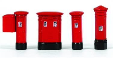 Pack of 4 different styles of Royal Mail pillar box post boxes including a  high capacity 'double' type often used in town and city centres, two standard round pillar boxes, one equipped with a stamp vending machine and a much older hexagonal pillar box.