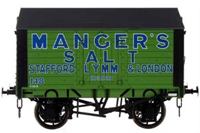 A finely detailed model of a covered salt van built to the RCH 1887 design specification for the Manger's Salt company of Stafford, Lymm and London, their fleet number 148.