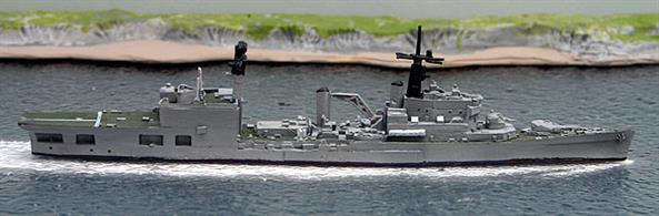 A 1/1250 scale second-hand painted model of HMS Blake after helicopter conversion in 1975 by Mountford MM-161KP. This model is in reasonable condition, see photograph.