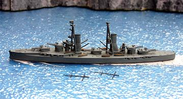 A 1/1250 scale second-hand model in excellent condition of the Italian battleship Andrea Doria as built by Navis Neptun 501. Re-painted in factory medium grey Z21 by a previous owner but with new black plastic topmasts in the box to be added by the purchaser, see photograph.