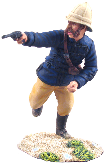 W Britain British 24th Foot Officer in Patrol Jacket firing his service revolver, and clothed in the optional patrol jacket as opposed to the normal scarlet the officer runs to the aid of his troops as they attempt to hold back the advancing Zulu army.<p>The 24th Regiment of Foot was formed in 1689 later to become the South Wales Borderers</p><p>1/30 Scale</p><p>Matt Finish</p>