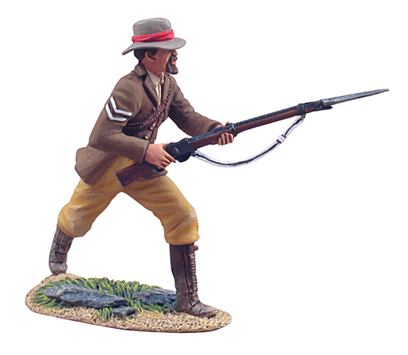 <p> W Britain Corporal Wilson of the Natal Native Contingent</p><p>The Natal Native Contingent was a large force of auxiliary soldiers in British South Africa, forming a substantial portion of the defence forces of the British colony of Natal, and saw action during the 1879 Anglo-Zulu War. Recruited from the local black population, the NNC was originally created in 1878 in order to bolster the defences of Natal. Most NNC troops were drawn from the Basuto and Mponso tribes, which had had long experience of fighting against the Zulus.</p><p>1/30 Scale</p><p>Matt Finish</p>