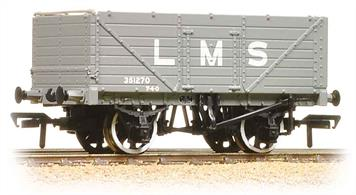 An excellent model of the classic 7-plank open coal wagon painted in the LMS goods grey livery.These 7-plank end door wagons were used in coal and mineral service, the end doors allowing the wagons to be emptied quickly. Built to specifications laid down by the railway companies through the Railways Clearing House (RCH) these wagons used a range of standard parts, allowing them to be repaired at any railway or private repair station. The LMS and LNER used many standard RCH wagons, while the GWR and SR re-designed their standard wagons to use the RCH parts.