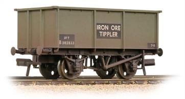 An excellent model of the standard BR 27-ton iron ore tippler wagon painted in the goods grey livery. These wagons were used for many other loads in addition to iron ore, including other ores, sand and aggregates traffics.
