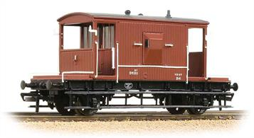 An excellent model of a standard BR 20-ton brake van running in the 1970s and 1980s. This model replicates the flush sided appearance of a van which had been re-clad using plywood sheathing in place of tounge-and-groove boarding and carries the TOPS wagon type code CAP, indicating a van fitted with a hand brakes, plus through pipe (train brake connection but no brake cylinder) and a guards' brake valve for the vacuum train brake system.Era 7 1971-1982