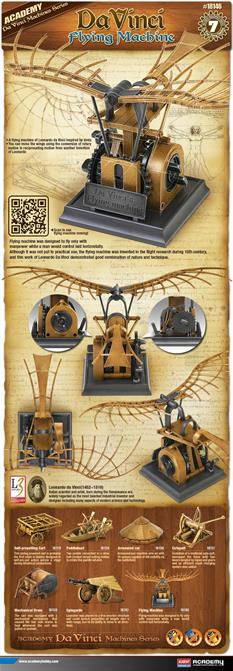 Academy Da Vinci Flying Machine Plastic Kit 18146