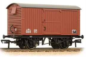 A model of the LNER design ventilated box van with corrugated steel end panels. This model is finished in BR bauxite livery with the later boxed lettering.