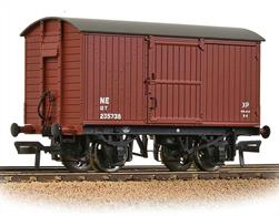 A model of the LNER design ventilated box van with wood planked ends. This model is finished in the LNER oxide livery.