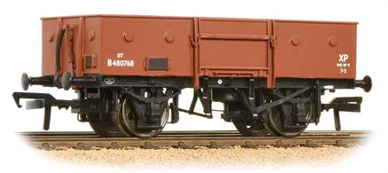 A model of the BR standard design steel-bodied open merchandise wagon. This model features the chain pocket dimples which contained a ring to whcih loads could be lashed securely.This model will be painted in the early BR bauxite livery.
