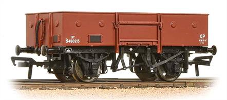A model of the BR standard design steel-bodied open merchandise wagon.This model will be painted in the later BR goods brown bauxite livery.