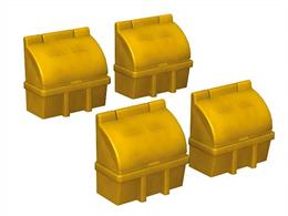 Scenecraft 44-546 00 Gauge Roadside Grit BoxesPack of 4 of the familiar yellow roadside grit boxes.These are now appearing at many railway stations for gritting platforms, bridges and foot crossings.Measures 10mm x 10mm x 10mm